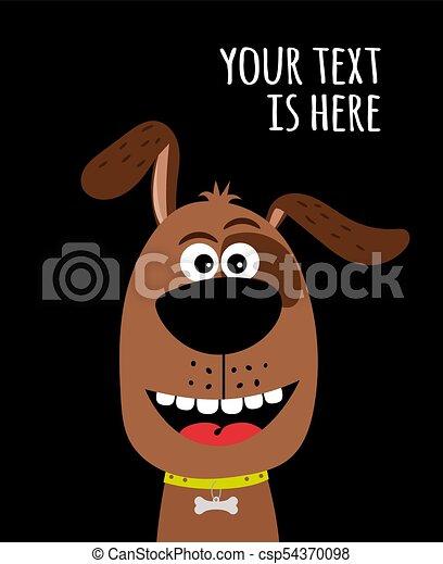 Cute dog card with bone charm - csp54370098