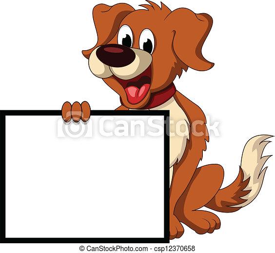 cute dog cartoon holding blank sign - csp12370658