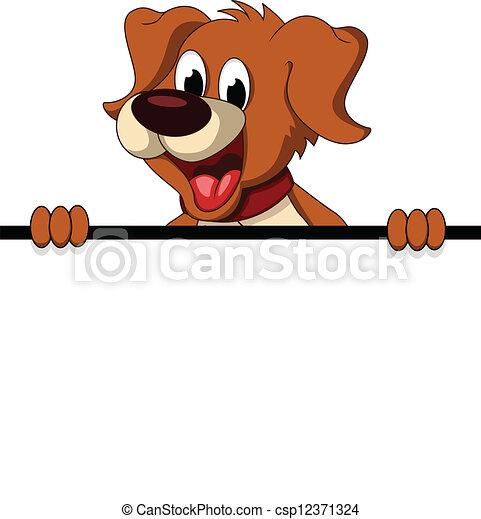 cute dog cartoon holding blank sign - csp12371324
