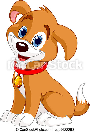 Cute Dog Illustration Of Cute Puppy Wearing A Red Collar With Gold