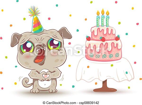Cute Dog In Birthday Hat