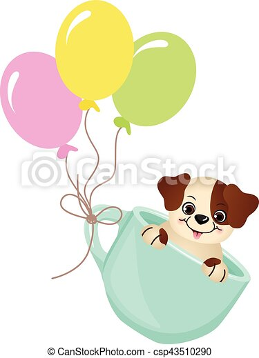 Cute dog in teacup with balloons - csp43510290