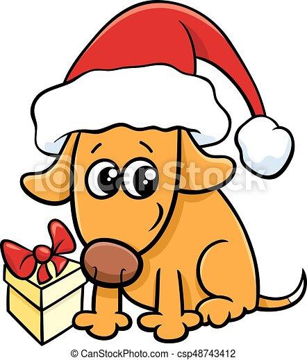 cute dog on christmas cartoon cartoon illustration of dog vector rh canstockphoto com christmas cartoon clipart off christmas cartoon clip art free