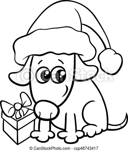 cute dog on christmas coloring book csp48743417