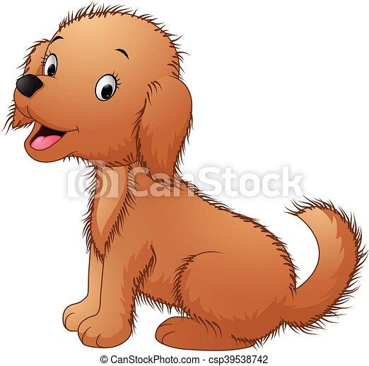Cute dog sitting isolated on white - csp39538742