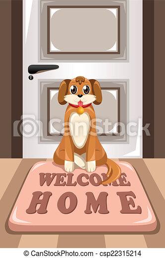 Cute dog sitting on a mat - csp22315214