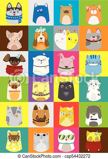 Cute dogs and cats set. Vector colorful pattern of pets. - csp54432272