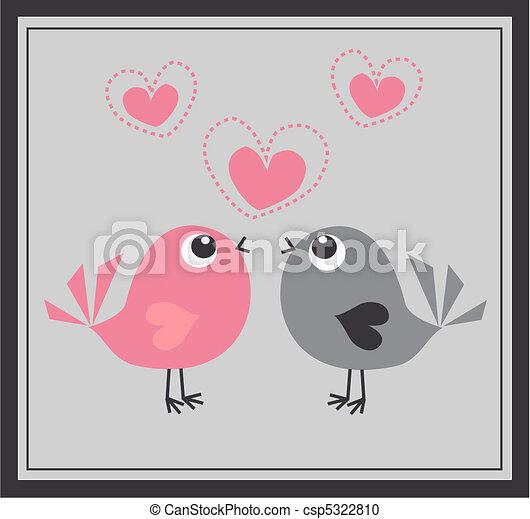 cute, dois pássaros - csp5322810