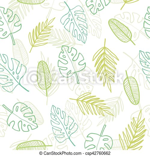 Cute Doodle Tropical Pattern Vector Seamless Illustration