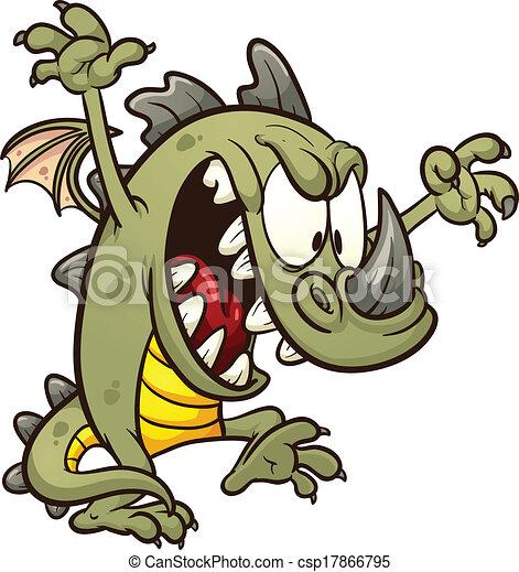 cute dragon cute cartoon dragon wreaking havoc vector clip art