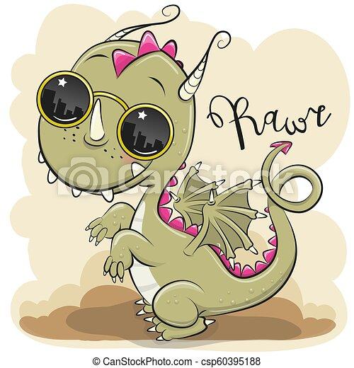 Cute Dragon with sun glasses - csp60395188