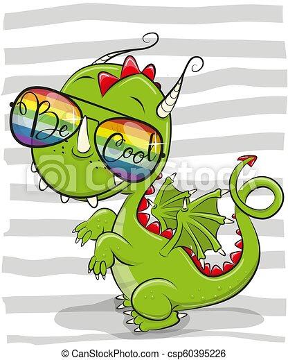 Cute Dragon with sun glasses - csp60395226