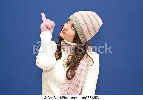Cute dressed girl, blue background - csp2851353