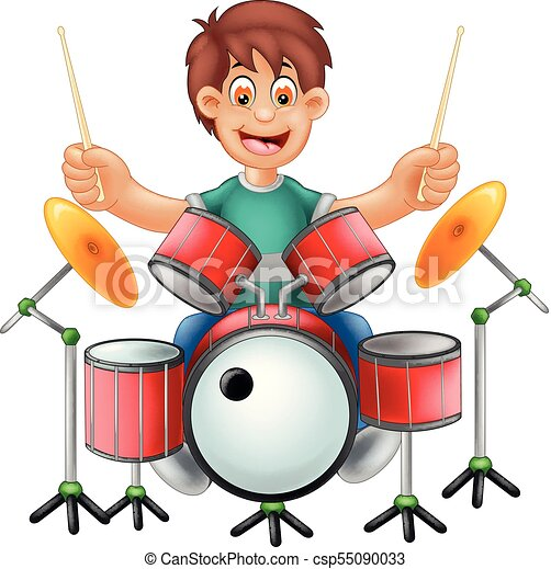 vector illustration of cute drummer cartoon sitting with vectors rh canstockphoto ie drums clipart snare drummer clipart