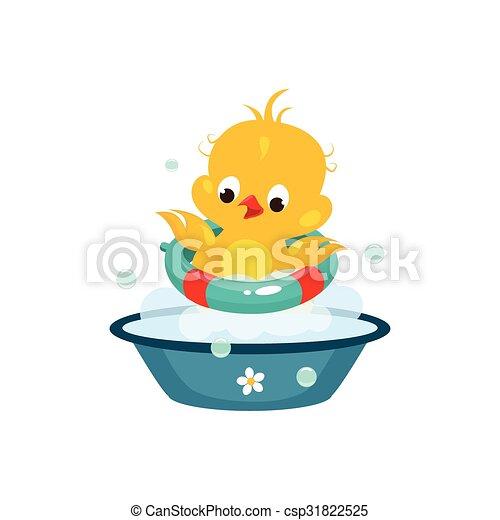 Cute Duckling in Bathroom. Vector Illustration - csp31822525