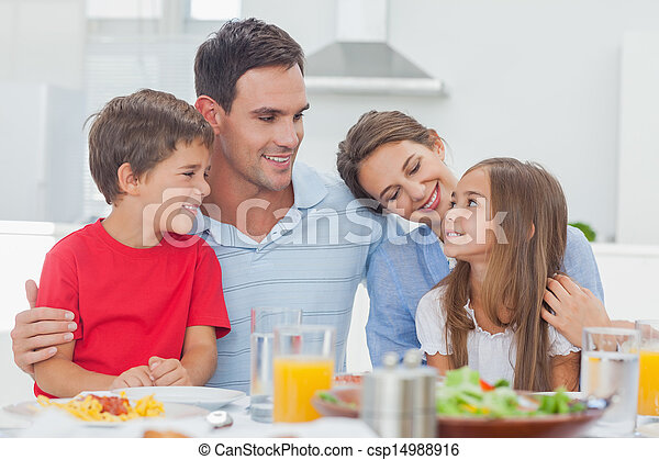 cute, durante, jantar, família - csp14988916