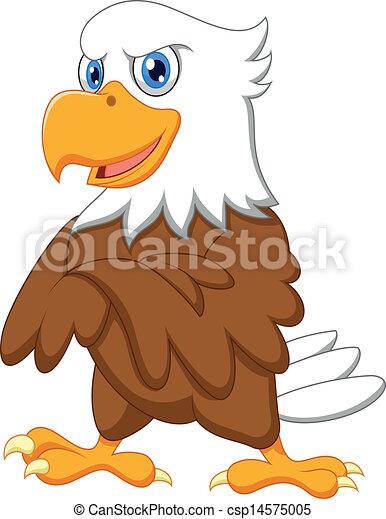 Cute eagle cartoon posing  - csp14575005