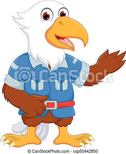 cute eagle cartoon standing with smiling and waving - csp50442850