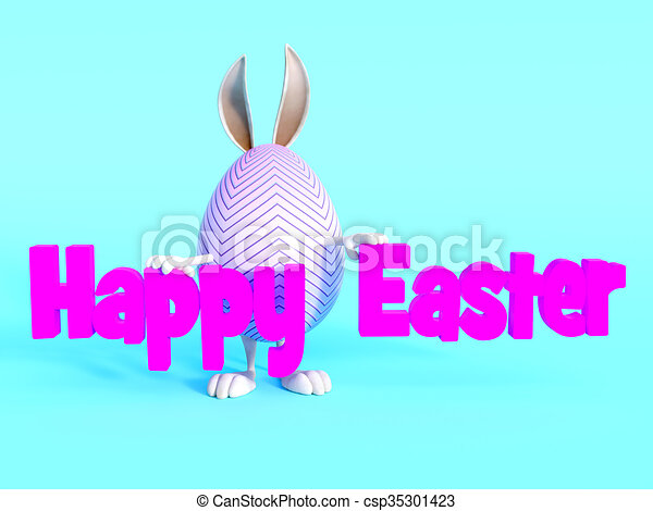 Cute Easter Bunny Egg Standing Behind Happy Sign