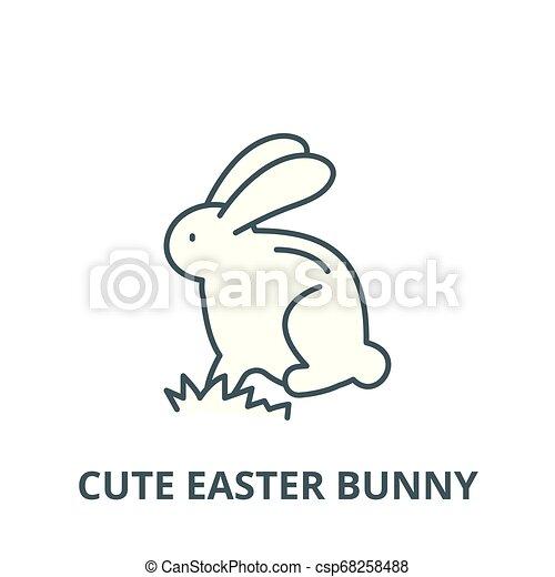 Cute Easter Bunny Outline Clip Art