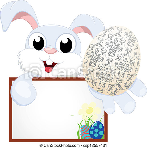 Cute Easter Bunny With Blank sign - csp12557481