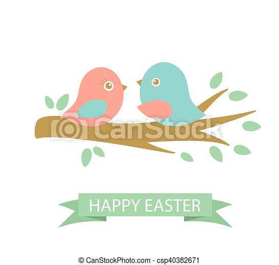 Cute easter card with two birds on the cherry tree - csp40382671