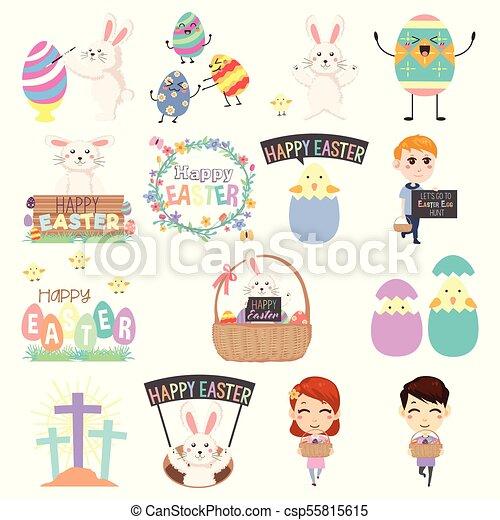 Cute Easter Clip Arts Illustration - csp55815615