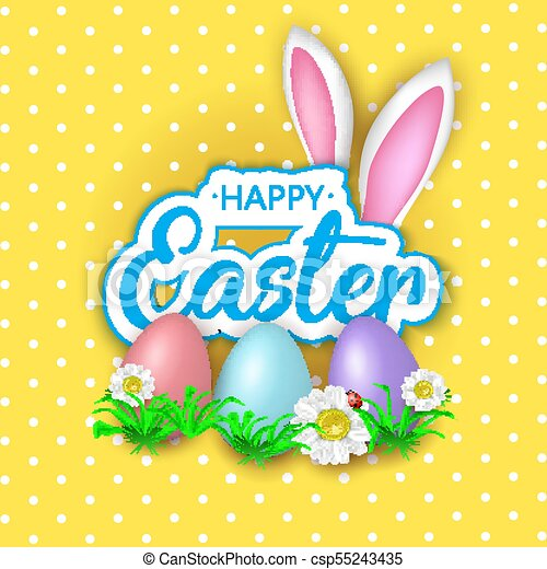 Cute Easter greeting card with flowers, Easter eggs and Rabbit e - csp55243435