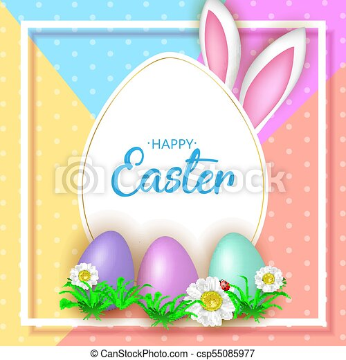 Cute Easter greeting card with flowers, Easter eggs and Rabbit e - csp55085977
