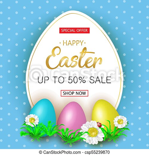 Cute Easter greeting sale banner with flowers, Easter eggs on bl - csp55239870