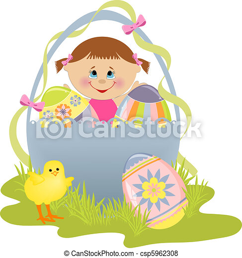 Cute Easter illustration with child - csp5962308
