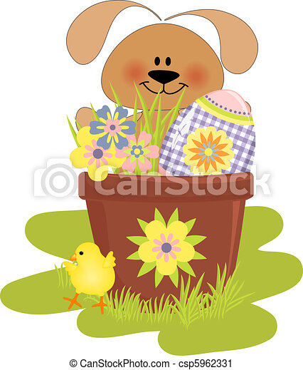 Cute Easter illustration with rabbit - csp5962331