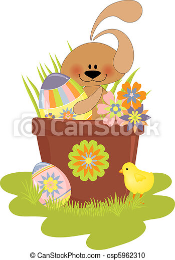 Cute Easter illustration with rabbit - csp5962310
