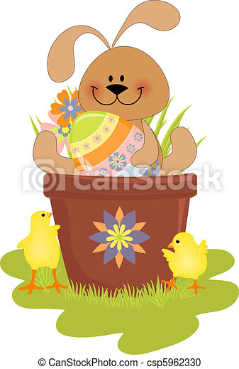Cute Easter illustration with rabbit - csp5962330