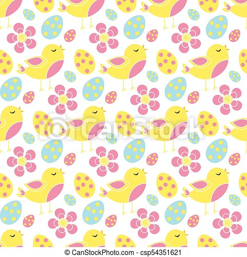 Cute Easter Seamless Pattern Spring Repeating Textures Childrens Baby Kids Endless Background