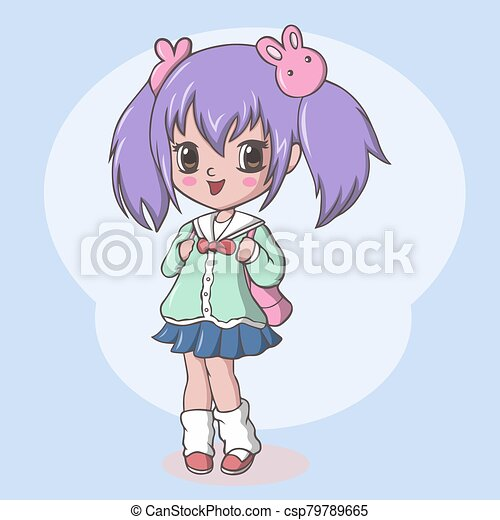 Cute elementary school woman with bag - csp79789665