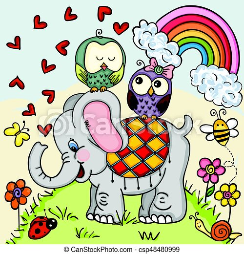 Cute elephant and couple owls on nature background ...