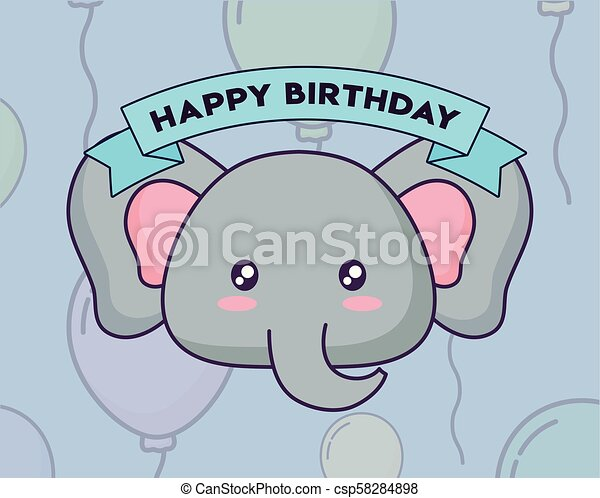 Cute Elephant Birthday Card Kawaii Character Vector Illustration Design