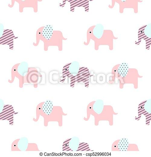 Cute Elephant Cartoon Baby Seamless Pattern