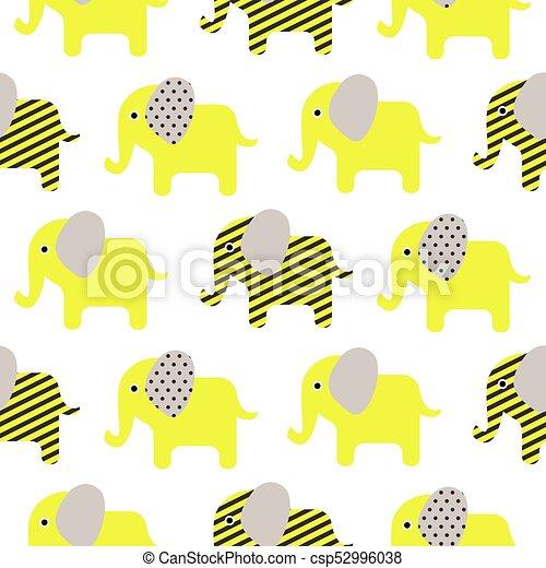 Cute Elephant Cartoon Neon Green Baby Seamless Pattern