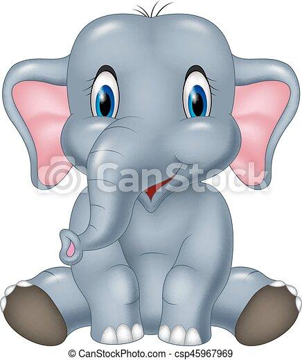 Cute elephant cartoon sitting - csp45967969
