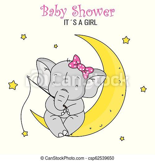 Baby shower girl. cute elephant fishing stars sitting on ...