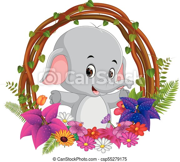 Illustration of cute elephant in root of tree frame with flower.