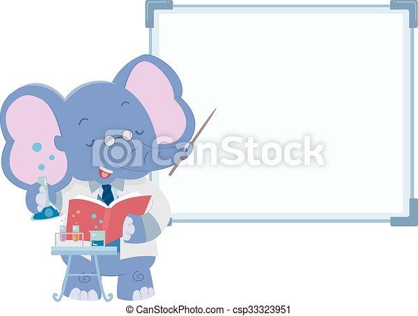 Cute Elephant Lab Teacher - csp33323951