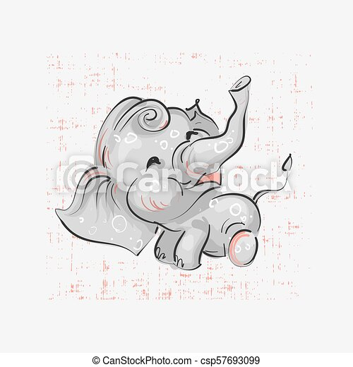 Cute elephant seating hand drawn vector illustration. Can be used for t-shirt print, kids wear fashion design, baby shower invitation card. - csp57693099