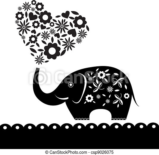 cute elephant with flowers. Heart card - csp9026075