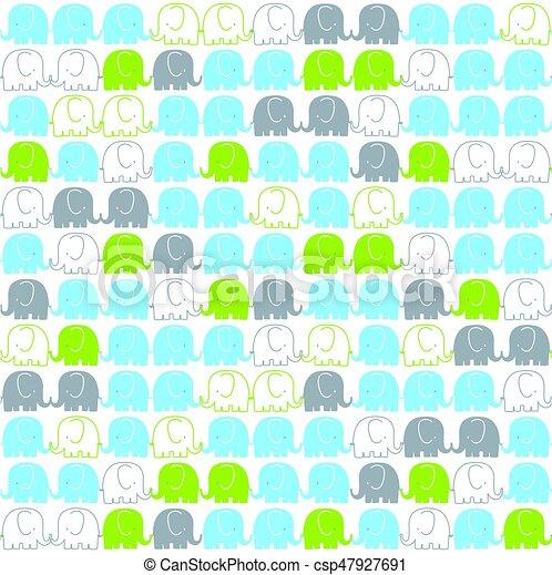 cute elephants pattern - csp47927691