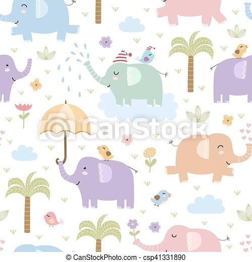 Cute Elephants Seamless Pattern