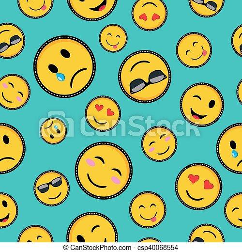 Cute Emoji Designs Seamless Pattern Seamless Pattern With Vibrant
