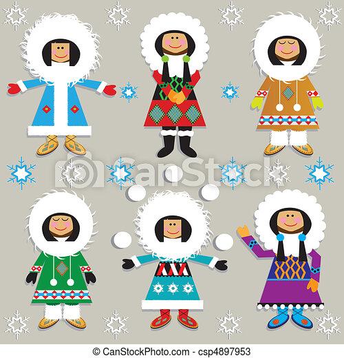 Cute Eskimos - csp4897953